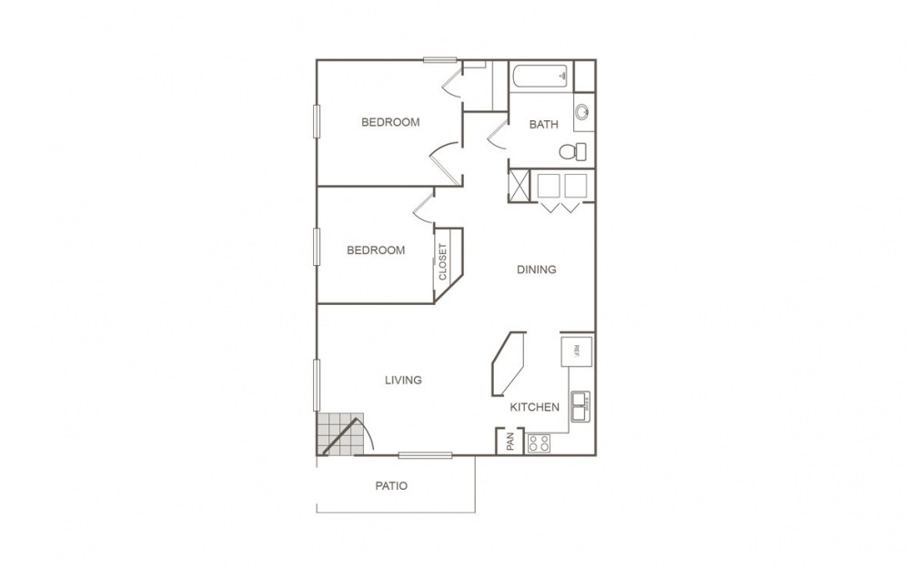 A - 2 bedroom floorplan layout with 1 bath and 816 square feet (1st floor 2D)