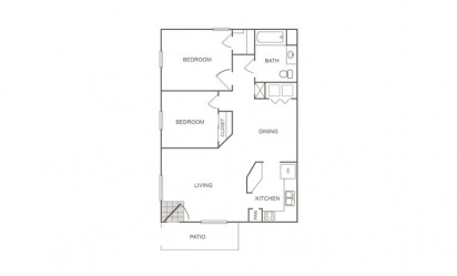 A - 2 bedroom floorplan layout with 1 bath and 816 square feet