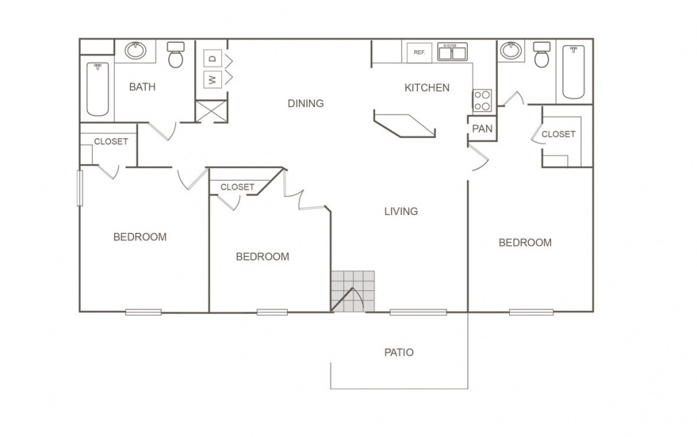 B - 3 bedroom floorplan layout with 2 bath and 1060 square feet (1st floor 2D)