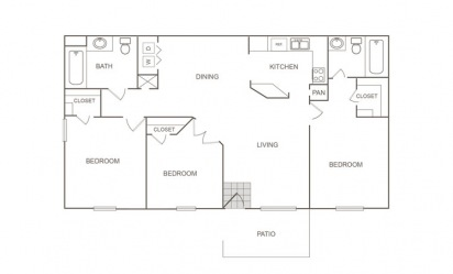 B - 3 bedroom floorplan layout with 2 bath and 1060 square feet