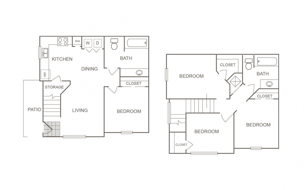 C - 4 bedroom floorplan layout with 2 bath and 1224 square feet (1st floor 2D)