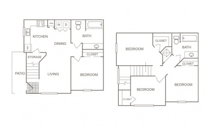 C - 4 bedroom floorplan layout with 2 bath and 1224 square feet